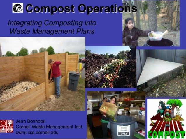 Jean Bonhotal Cornell Waste Management Inst. cwmi.css.cornell.edu Compost OperationsCompost Operations Integrating Compost...