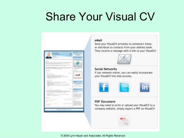 © 2009 Lynn Hazan and Associates. All Rights Reserved Share Your Visual CV