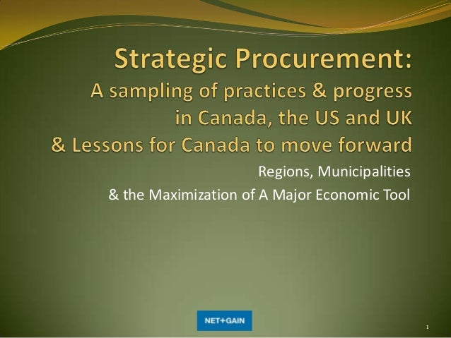 Regions, Municipalities & the Maximization of A Major Economic Tool  1