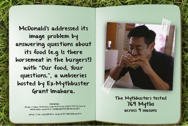 McDonald's addressed its  image problem by  answering questions about  its food (e.g Is there  horsemeat in the burgers?) ...