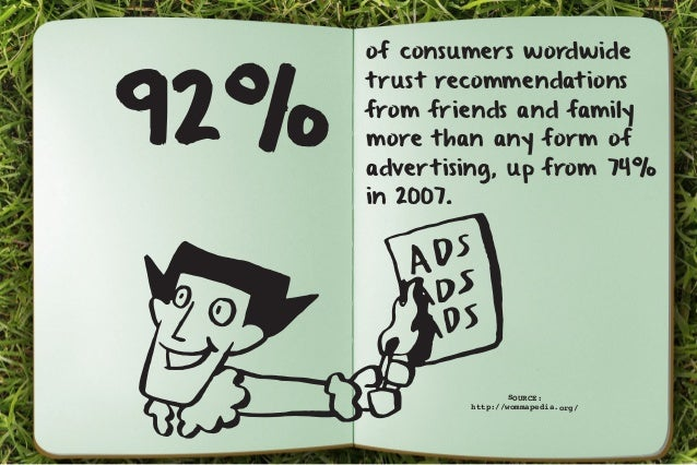 92% of consumers wordwide  trust recommendations  from friends and family  more than any form of  advertising, up from 74%...