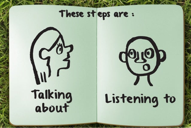 These st eps are :  Talking  about  Listening to