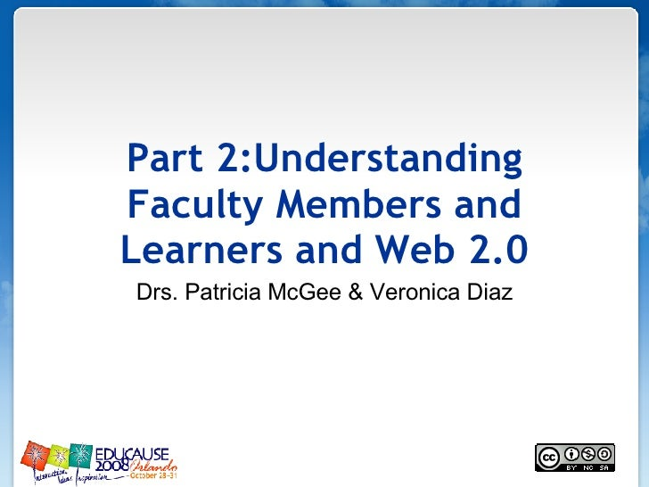Part 2:Understanding Faculty Members and Learners and Web 2.0 Drs. Patricia McGee & Veronica Diaz