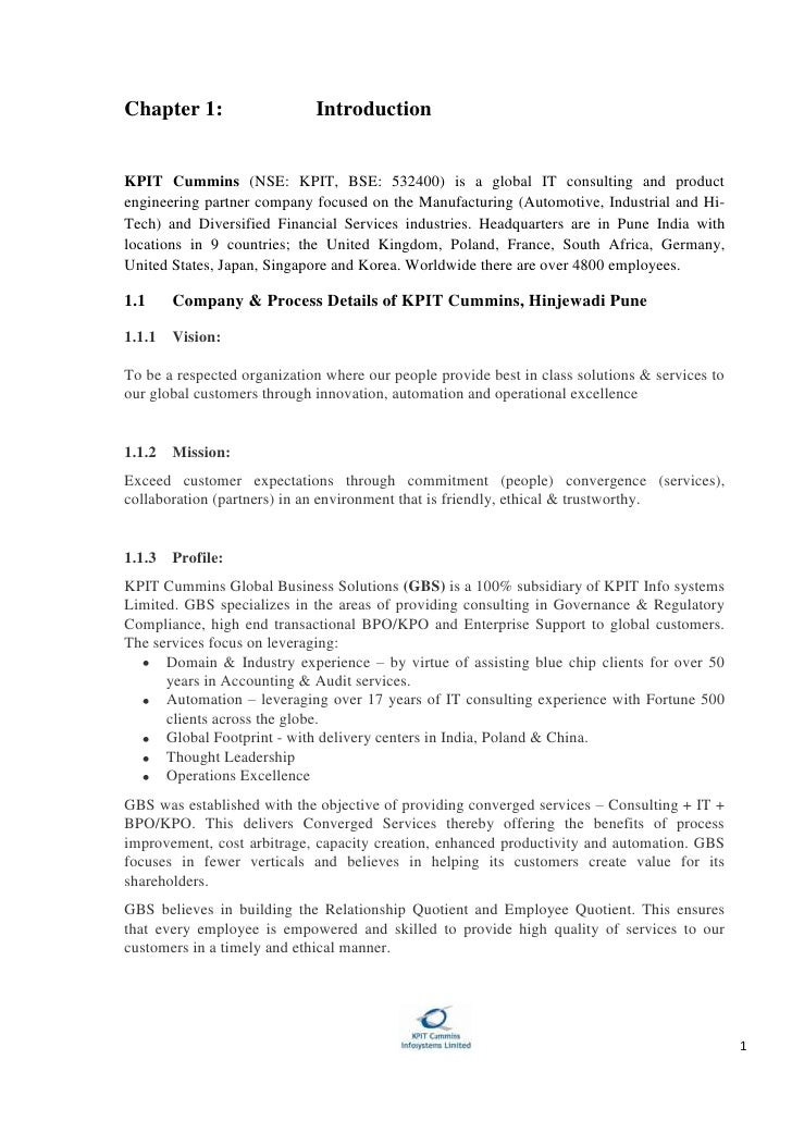 Chapter 1: Introduction<br />KPIT Cummins (NSE: KPIT, BSE: 532400) is a global IT consulting and product engineering partn...