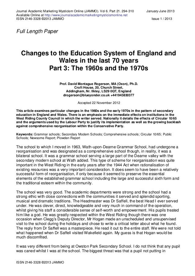 changes in the education system and