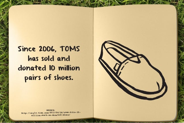 Since 2006, TOMS  has sold and  donated 10 million  pairs of shoes.  SOURCE:  http://style.time.com/2013/06/26/toms-hits-1...