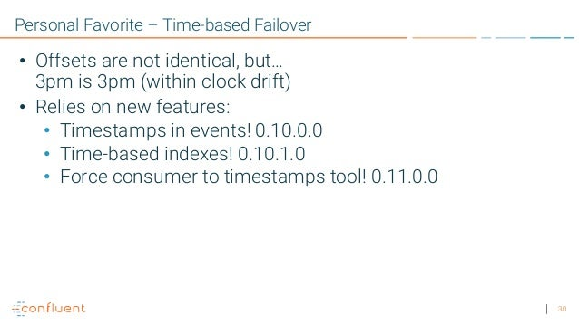 30 Personal Favorite – Time-based Failover • Offsets are not identical, but… 3pm is 3pm (within clock drift) • Relies on n...