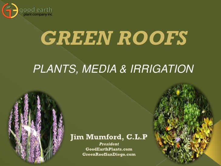 GREEN ROOFS PLANTS, MEDIA & IRRIGATION