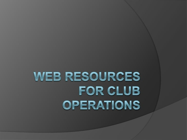 Web resources for club operations<br />