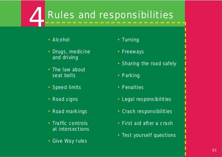 4   Rules and responsibilities    • Alcohol            • Turning    • Drugs, medicine    • Freeways      and driving      ...