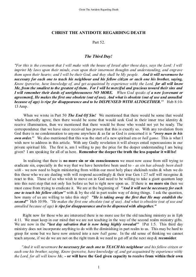Christ The Antidote Regarding Death                       CHRIST THE ANTIDOTE REGARDING DEATH                             ...