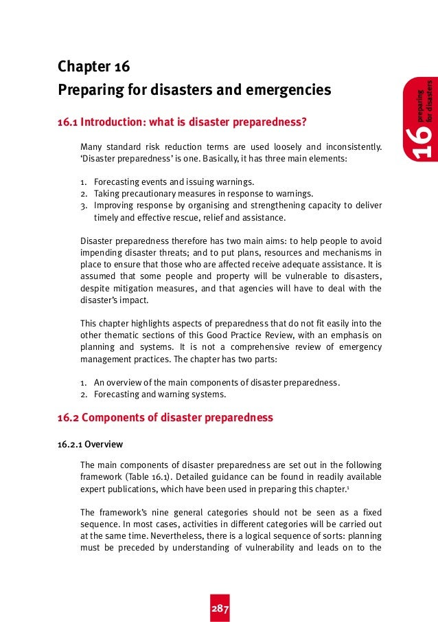 2:44 pm  Page 287  Chapter 16 Preparing for disasters and emergencies 16.1 Introduction: what is disaster preparedness? Ma...