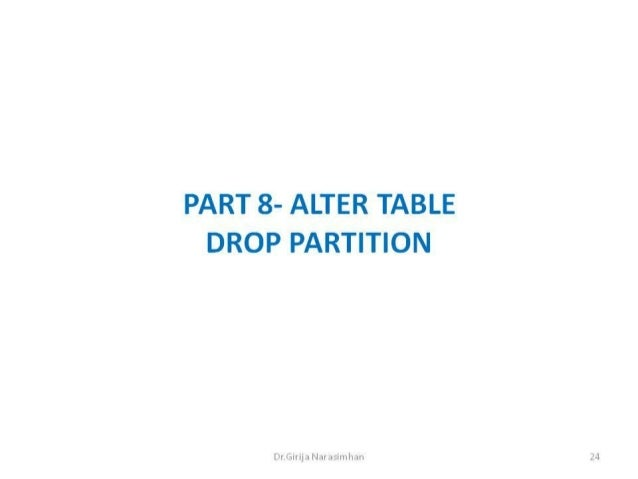 Part 8 drop partition