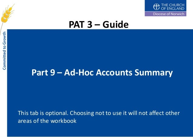 PAT 3 – Guide     Part 9 – Ad-Hoc Accounts SummaryThis tab is optional. Choosing not to use it will not affect otherareas ...