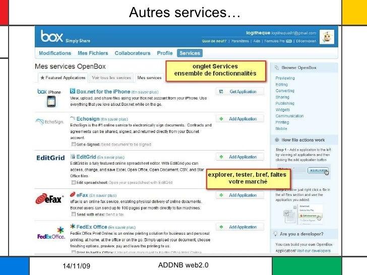 Autres services… ADDNB web2.0 14/11/09