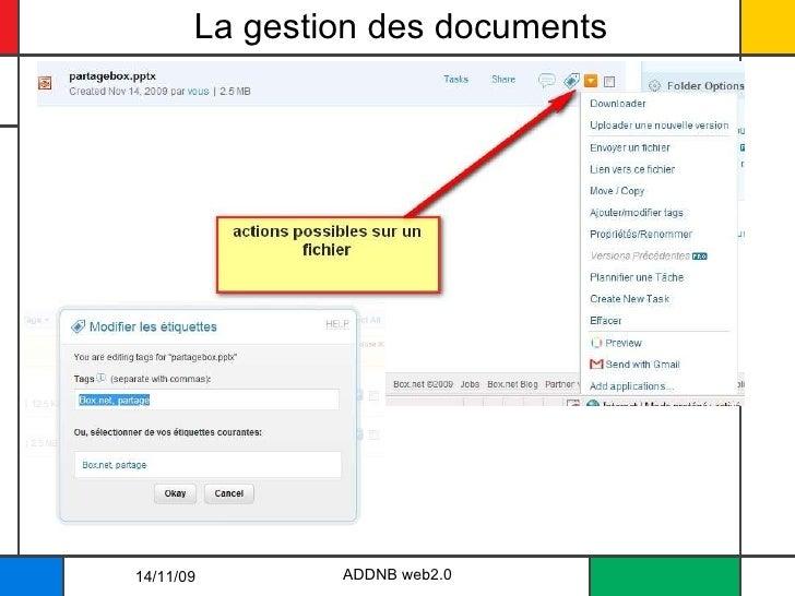 La gestion des documents ADDNB web2.0 14/11/09