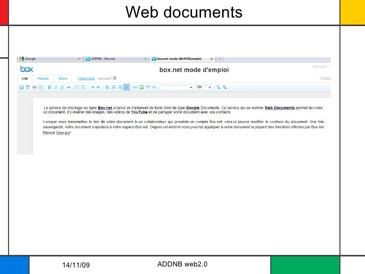 Web documents 14/11/09 ADDNB web2.0