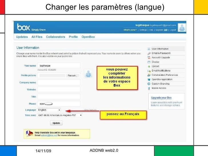 Changer les paramètres (langue) ADDNB web2.0 14/11/09