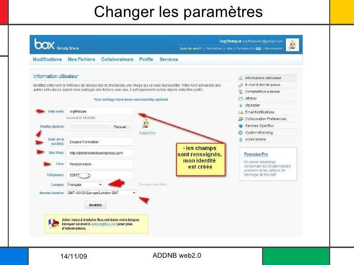 Changer les paramètres 14/11/09 ADDNB web2.0