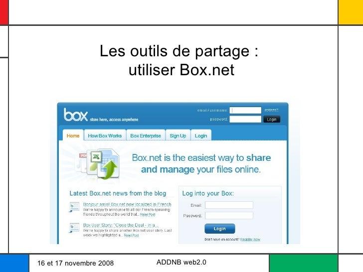 Les outils de partage :  utiliser Box.net