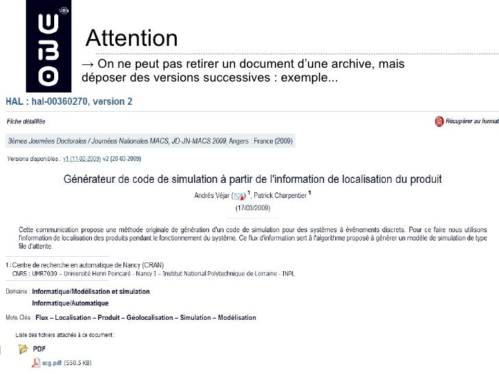 Attention                → On ne peut pas retirer un document d'une archive, mais                déposer des versions succ...