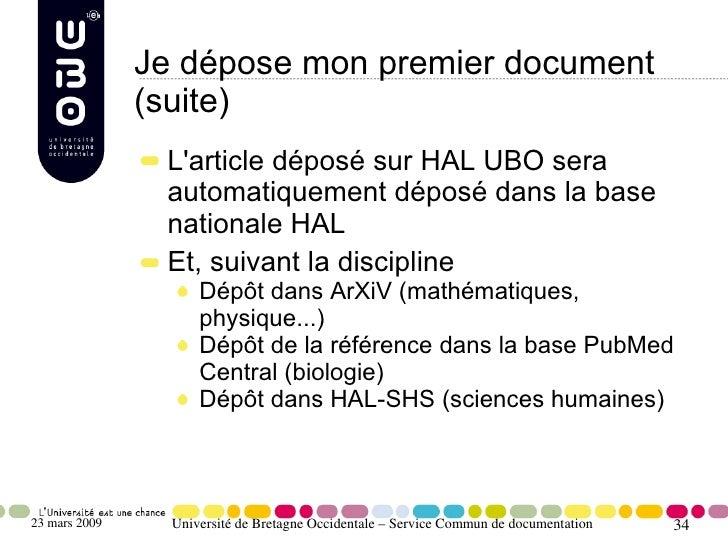 Je dépose mon premier document                (suite)                 L'article déposé sur HAL UBO sera                 au...