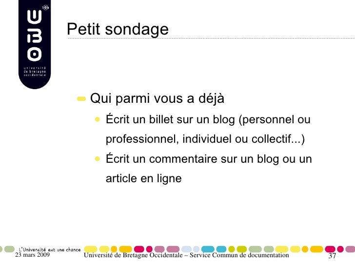 Petit sondage                       Qui parmi vous a déjà                         Écrit un billet sur un blog (personnel o...