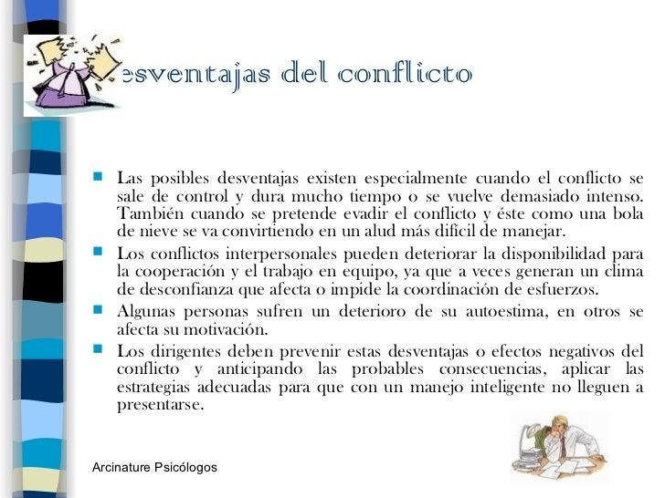 Desventajas del conflicto <ul><li>Las posibles desventajas existen especialmente cuando el conflicto se sale de control y ...
