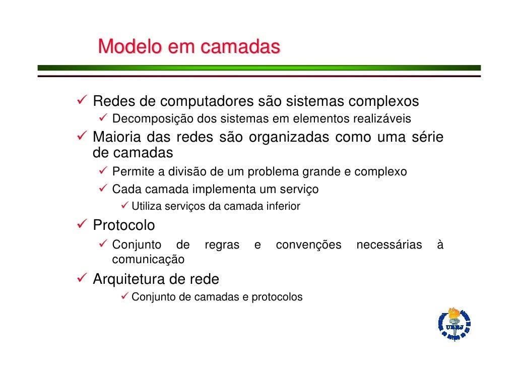 Modelo em camadas  Redes de computadores são sistemas complexos   Decomposição dos sistemas em elementos realizáveis Maior...