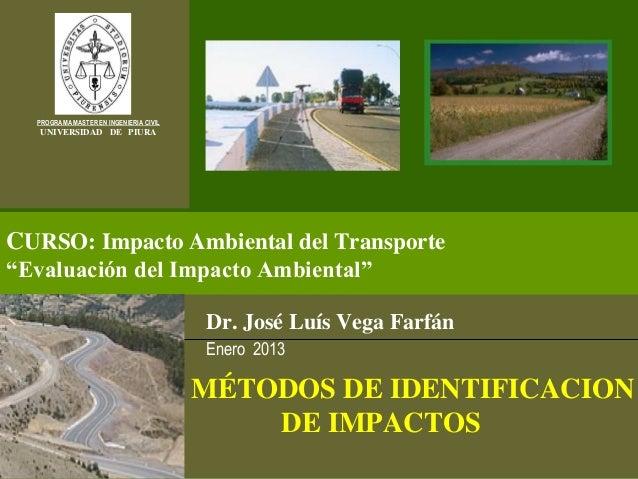 """PROGRAMA MASTER EN INGENIERIA CIVIL   UNIVERSIDAD DE PIURACURSO: Impacto Ambiental del Transporte""""Evaluación del Impacto A..."""