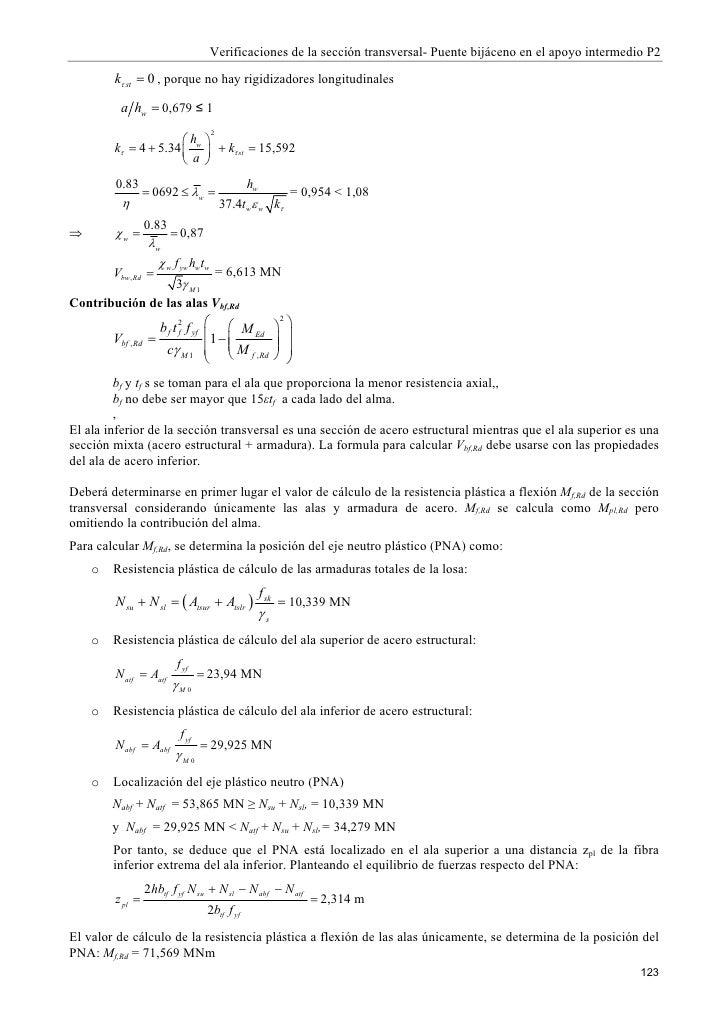 Verificaciones de la sección transversal- Puente bijáceno en el apoyo intermedio P2          kτ st = 0 , porque no hay rig...