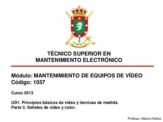 TÉCNICO SUPERIOR EN MANTENIMIENTO ELECTRÓNICO Módulo: MANTENIMIENTO DE EQUIPOS DE VÍDEO Código: 1057 Curso 2013 UD1. Princ...