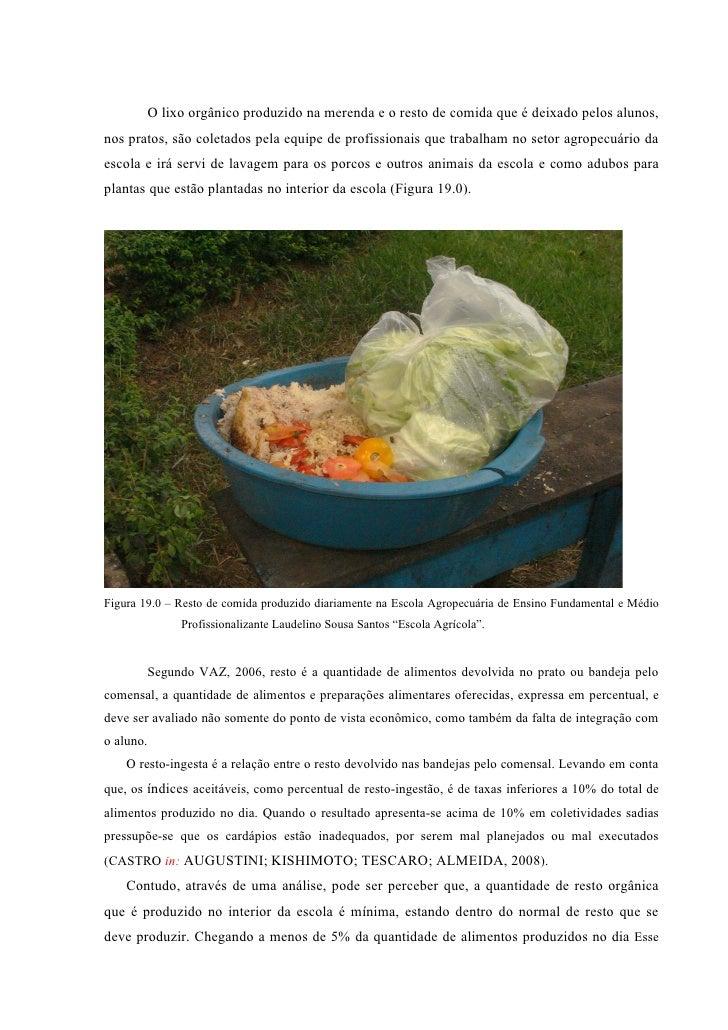 O lixo orgânico produzido na merenda e o resto de comida que é deixado pelos alunos, nos pratos, são coletados pela equipe...