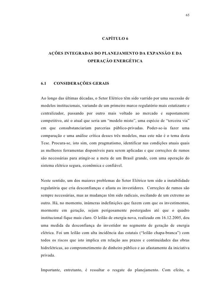 65                                        CAPÍTULO 6         AÇÕES INTEGRADAS DO PLANEJAMENTO DA EXPANSÃO E DA            ...