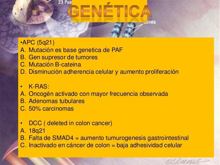 •APC (5q21)A. Mutación es base genetica de PAFB. Gen supresor de tumoresC. Mutación B-cateinaD. Disminución adherencia cel...