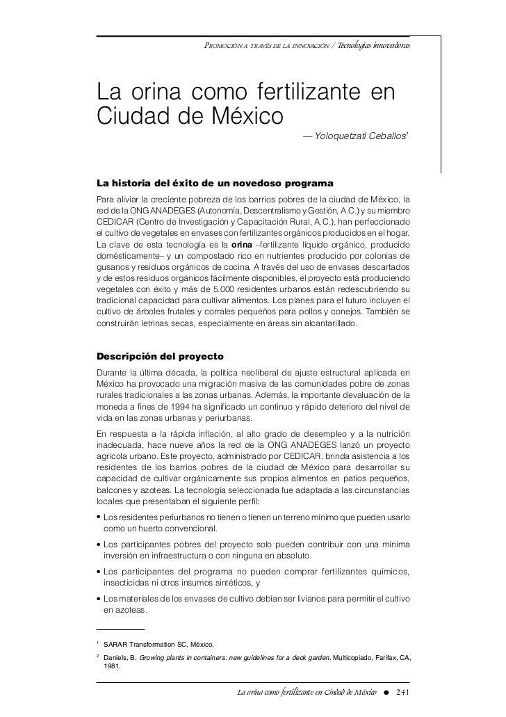 PROMOCIÓN A TRAVÉS DE LA INNOVACIÓN / Tecnologías innovadorasLa orina como fertilizante enCiudad de México                ...