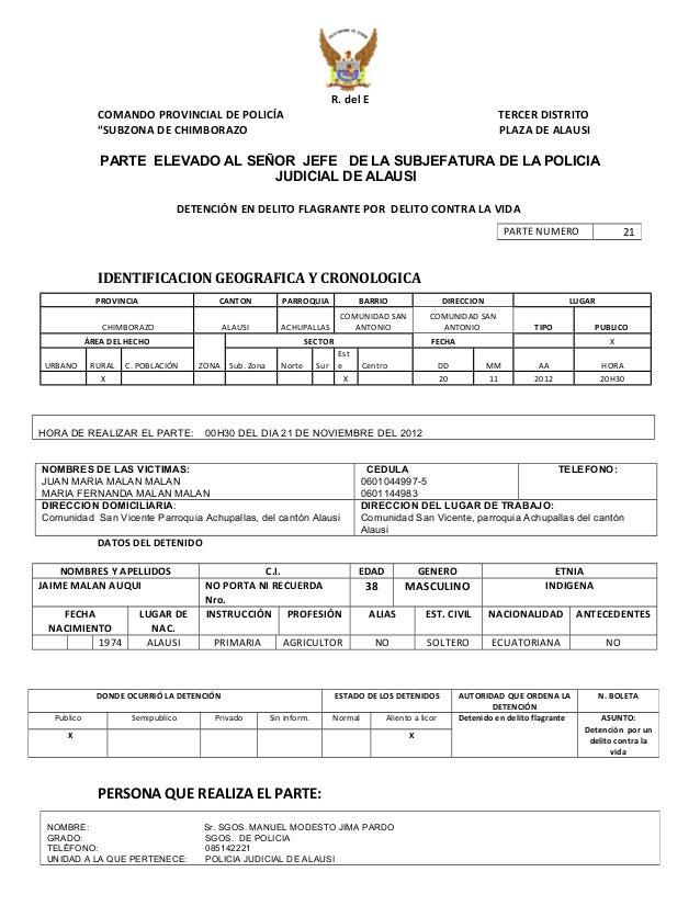 """R. del E  COMANDO PROVINCIAL DE POLICÍA TERCER DISTRITO  """"SUBZONA DE CHIMBORAZO PLAZA DE ALAUSI  PARTE ELEVADO AL SEÑOR JE..."""