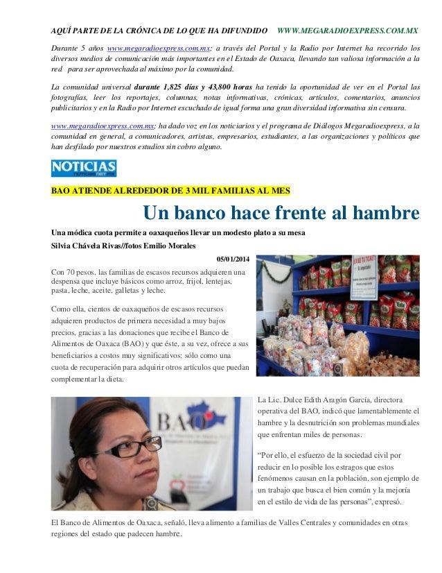 AQUÍ PARTE DE LA CRÓNICA DE LO QUE HA DIFUNDIDO WWW.MEGARADIOEXPRESS.COM.MX Durante 5 años www.megaradioexpress.com.mx; a ...