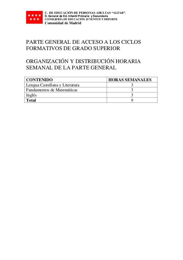 Parte General De Acceso A Los Ciclos Formativos De Grado