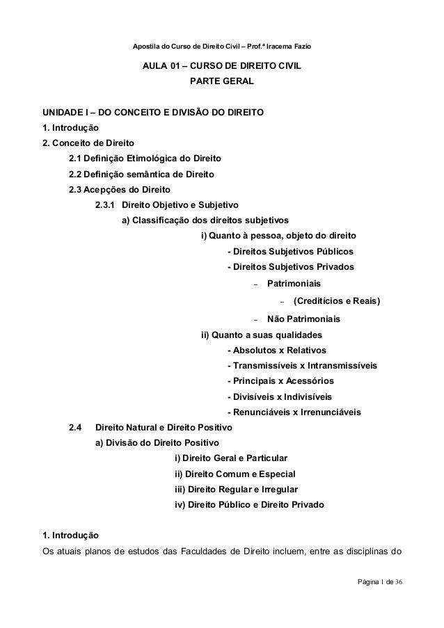 Apostila do Curso de Direito Civil – Prof.ª Iracema Fazio                         AULA 01 – CURSO DE DIREITO CIVIL        ...