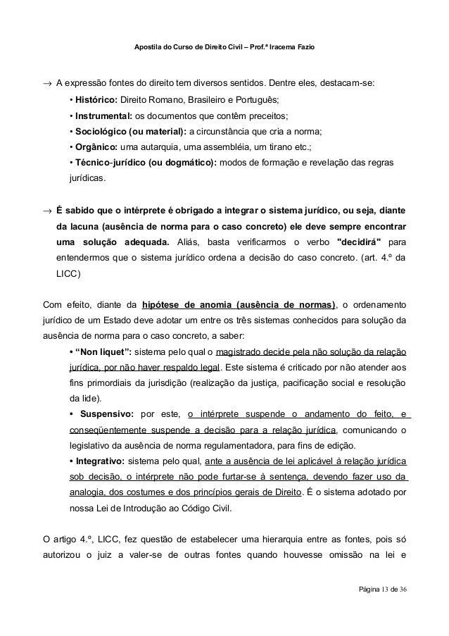 Apostila do Curso de Direito Civil – Prof.ª Iracema Fazio→ A expressão fontes do direito tem diversos sentidos. Dentre ele...