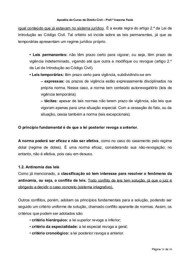 Apostila do Curso de Direito Civil – Prof.ª Iracema Fazioigual conteúdo que já estavam no sistema jurídico. É a exata regr...