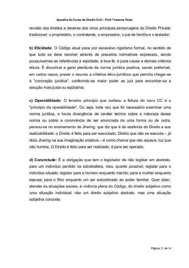 Apostila do Curso de Direito Civil – Prof.ª Iracema Faziorevisão dos direitos e deveres dos cinco principais personagens d...