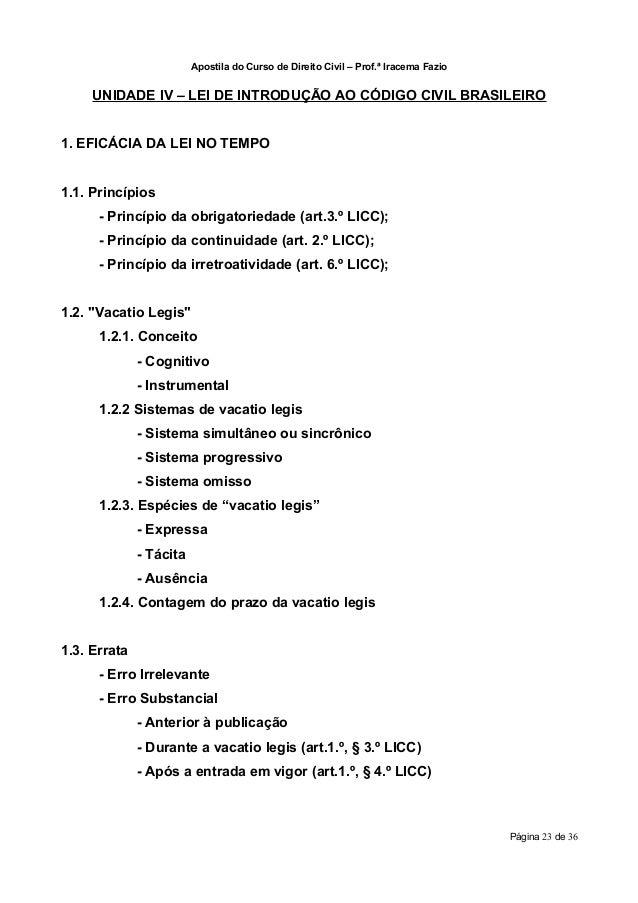 Apostila do Curso de Direito Civil – Prof.ª Iracema Fazio     UNIDADE IV – LEI DE INTRODUÇÃO AO CÓDIGO CIVIL BRASILEIRO1. ...