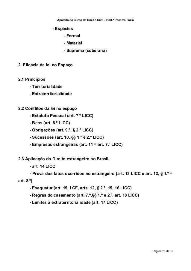 Apostila do Curso de Direito Civil – Prof.ª Iracema Fazio                   - Espécies                            - Formal...