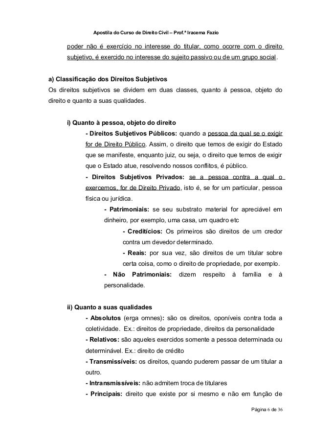 Apostila do Curso de Direito Civil – Prof.ª Iracema Fazio      poder não é exercício no interesse do titular, como ocorre ...