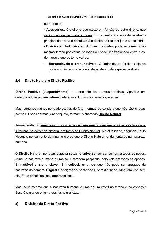 Apostila do Curso de Direito Civil – Prof.ª Iracema Fazio                   outro direito.                   - Acessórios:...