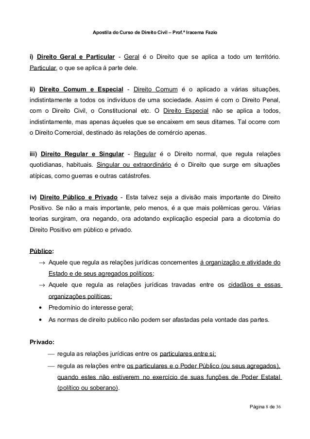 Apostila do Curso de Direito Civil – Prof.ª Iracema Fazioi) Direito Geral e Particular - Geral é o Direito que se aplica a...
