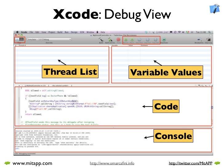 Xcode: Debug View              Thread List                       Variable Values                                          ...