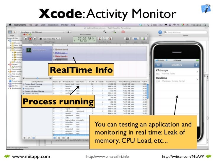 Xcode: Activity Monitor                 RealTime Info      Process running                          You can testing an app...